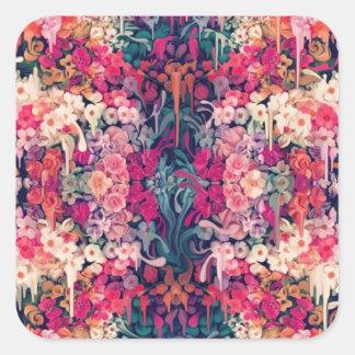 Ama-me talvez, derretendo o teste padrão floral adesivo quadrado
