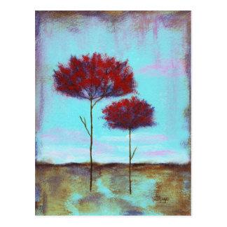 Amado, árvores do vermelho da paisagem da arte cartão postal