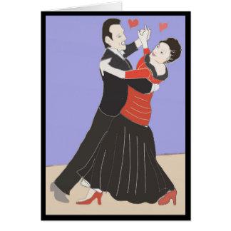 Amadureça a dança do casal, cartão de cumprimentos