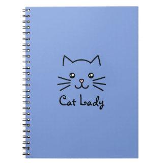 Amante bonito do gato da cara do gato do gatinho cadernos espiral