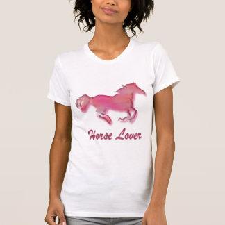 Amante do cavalo no rosa camiseta