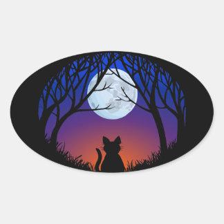 Amante do gato das etiquetas do gato do Dia das Adesivo Oval