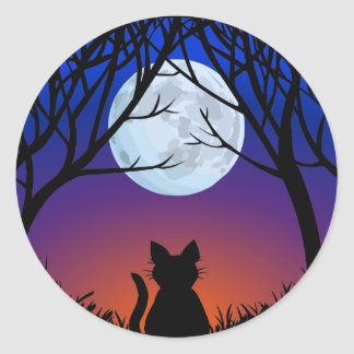 Amante do gato das etiquetas do gato do Dia das Br Adesivo Em Formato Redondo