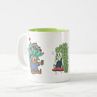 Amante do Succulent Caneca De Café Em Dois Tons