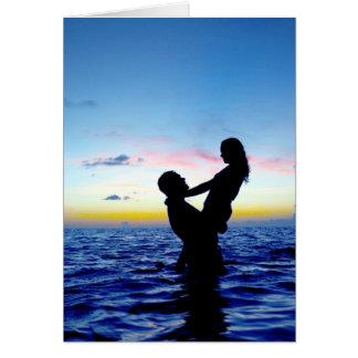 Amantes do por do sol cartão