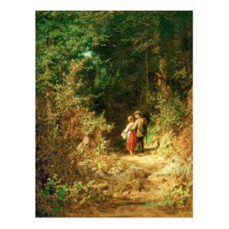 Amantes no cartão de Forrest - de Spitzweg