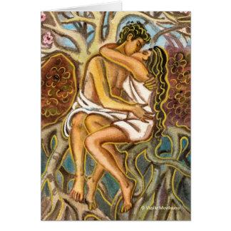 Amantes que beijam-se sob uma árvore de florescênc cartao