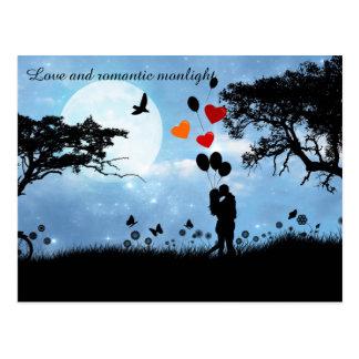 Amantes, romântico e monlight cartão postal