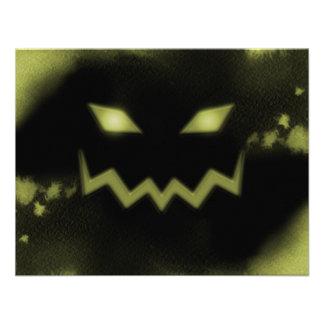 Amarelo assustador do preto da cara da lanterna de convite personalizado