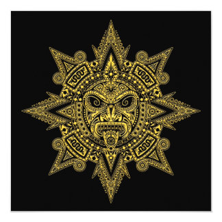 Amarelo asteca da máscara de Sun no preto Convite Personalizados