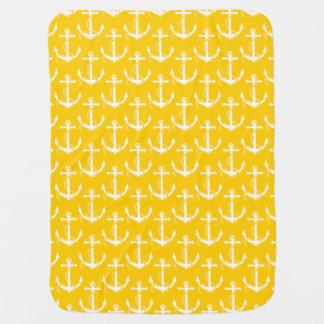 Amarelo Aweigh das âncoras náuticas Mantas Para Bebe