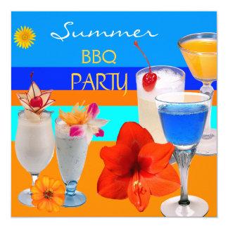 Amarelo azul das bebidas dos cocktail do partido convite quadrado 13.35 x 13.35cm