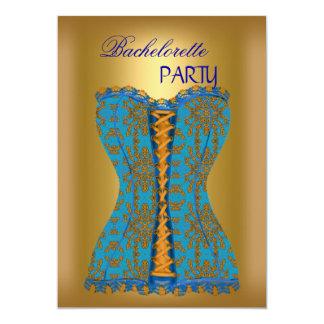 Amarelo azul do ouro do espartilho da cerceta da convite 12.7 x 17.78cm