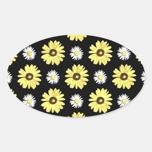 Amarelo branco das margaridas na etiqueta preta adesivos ovais