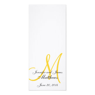 Amarelo branco de linho do monograma do programa convite 10.16 x 23.49cm