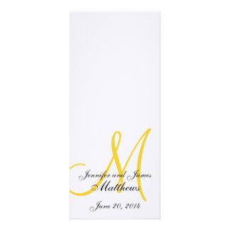 Amarelo branco de linho do monograma do programa d convite personalizado