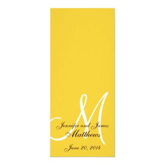Amarelo & branco do monograma do programa da convite 10.16 x 23.49cm