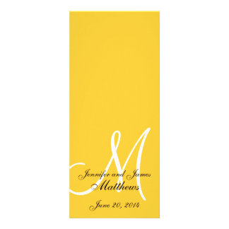 Amarelo & branco do monograma do programa da igrej convites personalizado