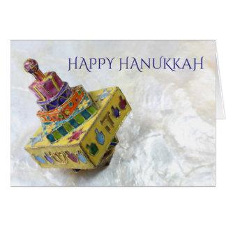 Amarelo brilhante cartão esmaltado de Hanukkah do