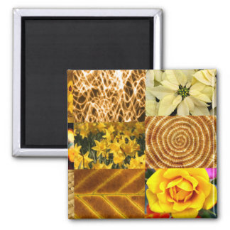 Amarelo/colagem fotos do ouro ímã quadrado