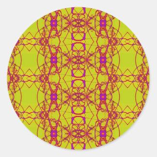 amarelo com laço cor-de-rosa adesivo em formato redondo