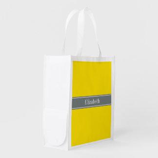 Amarelo contínuo, monograma do nome da fita das sacola ecológica