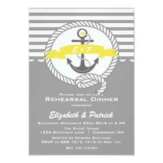 Amarelo & convite náutico cinzento do jantar de