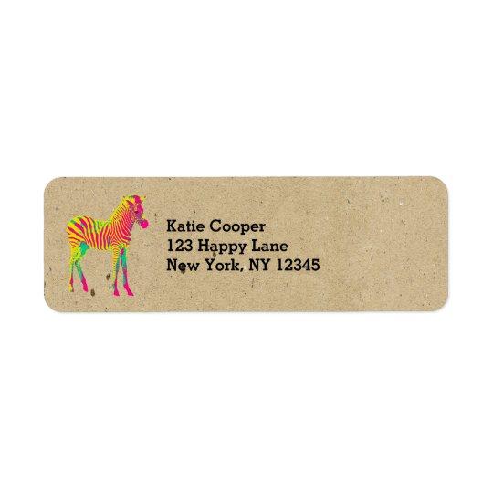 Amarelo cor-de-rosa da zebra de néon do bebê & etiqueta endereço de retorno