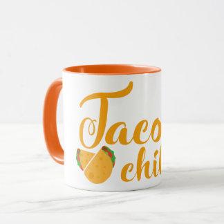 Amarelo da caneca do Tacos & do frio dos desenhos