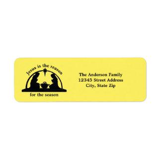 Amarelo da cena da natividade - etiqueta de