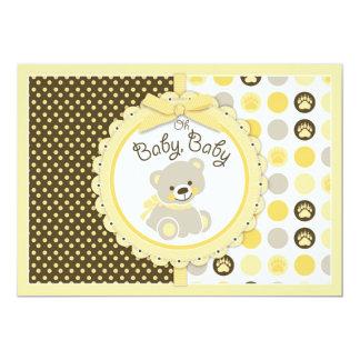 Amarelo do chá de fraldas do urso de ursinho convite 12.7 x 17.78cm