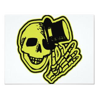 Amarelo do crânio de Tophat Convite