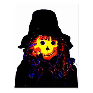 Amarelo do espantalho do Dia das Bruxas os Cartões Postais