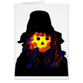 Amarelo do espantalho do Dia das Bruxas os present Cartão