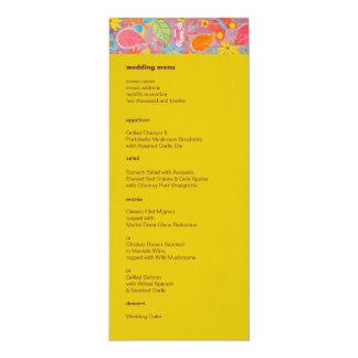 Amarelo do menu do casamento de Ganesh Convite 10.16 X 23.49cm