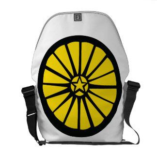 Amarelo do saco da roda bolsa mensageiro