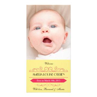 Amarelo do vintage & anúncio do nascimento da cartões com fotos personalizados
