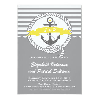 Amarelo e convite náutico cinzento do casamento de