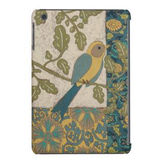 Amarelo e pássaro azul da cerceta empoleirado em capa para iPad mini retina