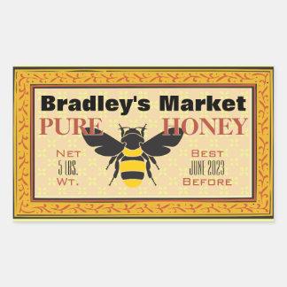 Amarelo e preto Bumble a abelha personalizada Adesivo Retangular