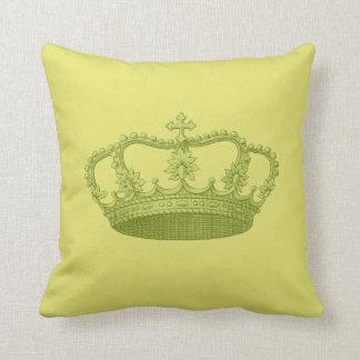 Amarelo esverdeado Backgrond da coroa do vintage Travesseiro