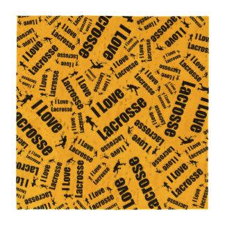 Amarelo eu amo o lacrosse descanso para copos