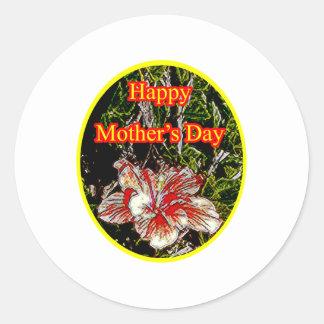 Amarelo feliz do dia da mãe o do hibiscus de pano adesivo