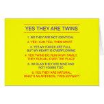 Amarelo fraterno das perguntas dos gêmeos cartão