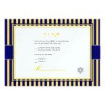 Amarelo liso+convites do rsvp das listras de azuis