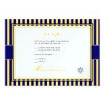 Amarelo liso+convites do rsvp das listras de azuis convite 8.89 x 12.7cm