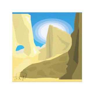 amarelo liso do abstrato da paisagem do deserto impressão em canvas