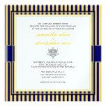 Amarelo liso+listras de azuis marinhos que wedding convite personalizado