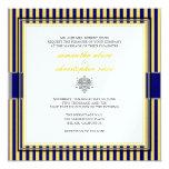 Amarelo liso+listras de azuis marinhos que wedding convite quadrado 13.35 x 13.35cm