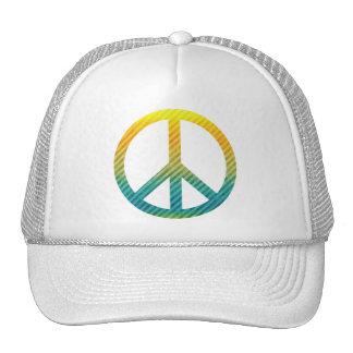 Amarelo listrado e azul do símbolo de paz boné